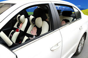 20pcs New 1 Set Female Cute Cartoon Universal Car Seat Cover Car Cushion Beige
