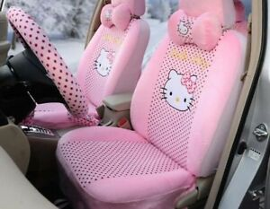 Women Love Hello Kitty Universal Car Seat Covers Cushion Accessory Plush Pink