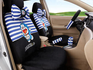 New 1set Cute Cartoon Plush Universal Car Seat Cover Seat Covers Stripe Black