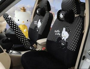 1 Sets Black Hello Kitty Universal Car Seat Cover Cushion Accessory Plush Tla8
