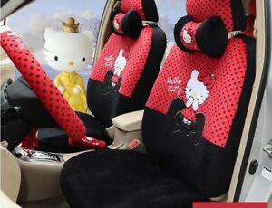 New 1 Set Cute Hello Kitty Universal Car Seat Cover Cushion Accessory Plush Tla5