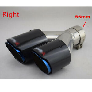 Dual Car Blue Exhaust Tip Tail Muffler Pipe Gloss Carbon Fiber 2 6 66mm Right