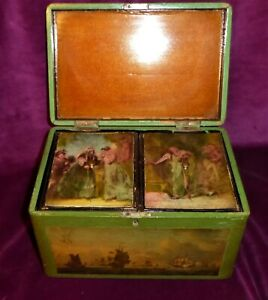 Antique Oriental Painted Wooden Tea Caddy With Glazed Picture Panels