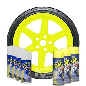 Performix Plasti Dip 3 Blaze Yellow Wheel Kit 4 White Spray 11oz Aerosol Cans