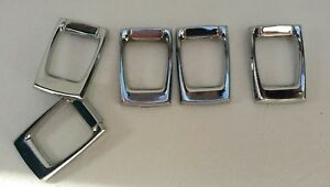 5 Vintage Chrome Drawer Pulls Rectangular Slanted When Attached Modern Retro