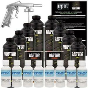 U pol Raptor Gm White Urethane Spray on Truck Bed Liner W free Spray Gun 8 L