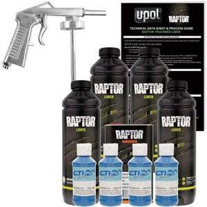 U Pol Raptor Dark Blue Urethane Spray On Truck Bed Liner W Free Spray Gun 4 L