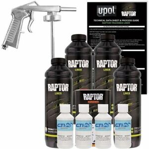 U Pol Raptor Gm White Urethane Spray On Truck Bed Liner W Free Spray Gun 4l