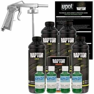 U Pol Raptor Green W Envy Urethane Spray On Truck Bed Liner W Free Spray Gun 4l