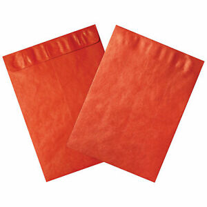 Tyvek Self seal Colored Envelopes 9 X 12 End Opening Red 100 Pack