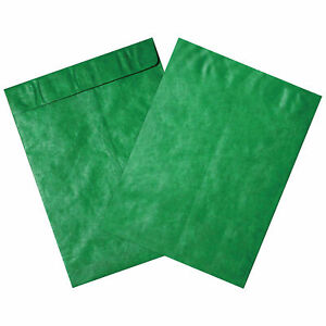 Tyvek Self seal Colored Envelopes 9 X 12 End Opening Green 100 Pack