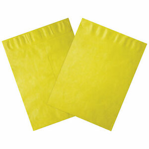 Tyvek Self seal Colored Envelopes 9 X 12 End Opening Yellow 100 Pack