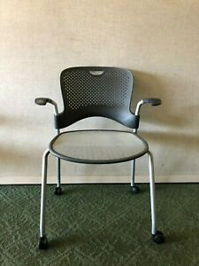 Herman Miller Caper Stacking Chair W Mesh Bottom Rolling Wheels