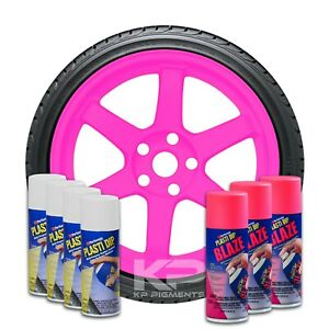 Performix Plasti Dip 3 Blaze Pink Wheel Kit 4 White Spray 11 Oz Aerosol Cans