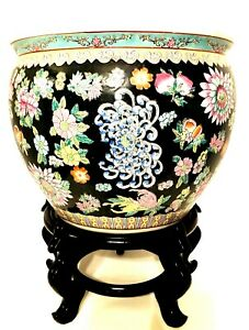Exquisite Chinese Floral Koi Fish Bowl Or Planter On Wooden Stand