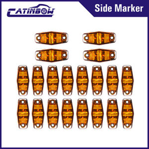 20x Amber 2 5 Led 2 Diode Oval Clearance Side Marker Light Car Truck Trailer Rv