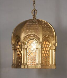 Antique Wood Pendant Chandelier Moorish Spanish Revival Tudor Gothic 11831