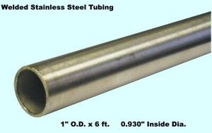Round Tubing 304 Stainless Steel 1 Od X 6 Ft Welded 0 834 Inside Dia