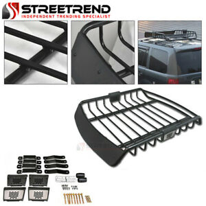 Universal Black Steel Roof Rack Basket Cargo Carrier Storage W wind Fairings S8