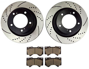 Front Drilled Brake Rotors Ceramic Pads For 2008 2018 Toyota Sequoia Tundra