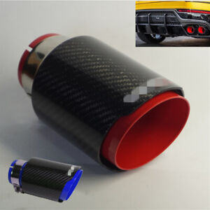 Car Exhaust Tip Muffler Pipe Red Steel Black Carbon Fiber 2 5 Inlet Universal