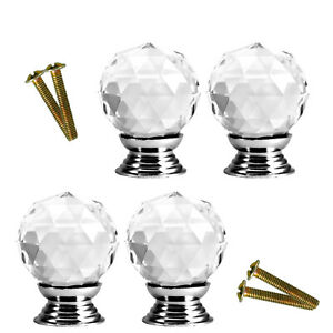 4pcs 30mm Silver Crystal Glass Clear Door Knobs Handle Drawer Kitchen Screw
