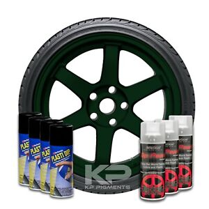 Performix Plasti Dip Pearl Wheel Kit 4 Black 3 Tahitian Green Aerosol Spray Cans