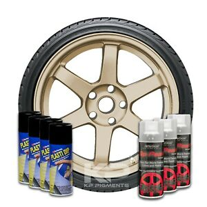 Performix Plasti Dip Pearl Wheel Kit 4 Black 3 Raw Titanium Aerosol Spray Cans
