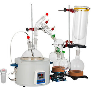 2000ml Short Path Distillation Kit Lab Glassware With Cold Trap Heating Mantle