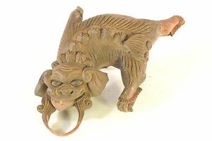 Antique Chinese Wooden Hand Carved Statue Figure Of Foo Dog Lion