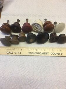 Lot Of 13 Antique Wooden Knobs Shabby Chic Chippy Replacements Dressers Cabinets