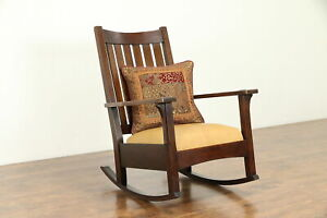 Art Crafts Mission Oak Antique Craftsman Rocker Leather L Jg Stickley 30977