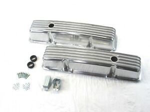 Small Block Chevy 350 383 Tall Finned Aluminum Valve Covers Polished Bpe 2005