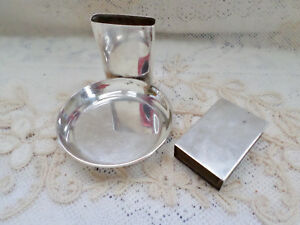 Sterling Silver Cigar Cigarette Match Holder Personal Ashtray Ss