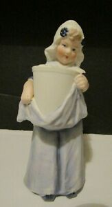 Vtg Heubach Dutch Girl Figurine Standing W Basket Piano Baby Germany