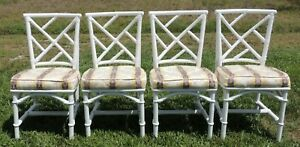 Set 4 Antique Vintage Faux Bamboo Chinese Chippendale Rattan Dining Side Chairs