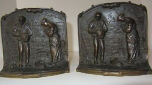 Vintage Art Deco Bronze Bookends Couple Praying In A Field