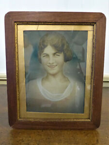 Vintage 1930s Hand Tinted Colored Photograph Pretty Lady Unique Picture Frame 7