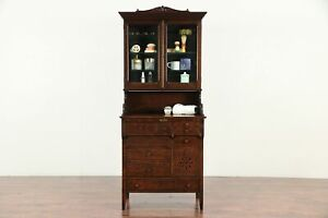 Doctor Or Physician Antique Oak Medical Collector Or Bath Cabinet 29334