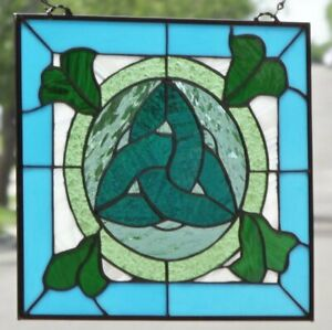 Celtic Beauty Beveled Stained Glass Window Panel 14 X 13
