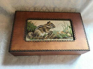 Jj Cash Carved Wood Jewelry Music Trinket Wooden Box Silk Squirrel Tapestry Lid