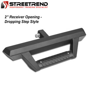 Matte Blk Steel Rear Hitch Dropping Drop Step Bar Guard W 2 Trailer Receiver Sa