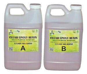 Crystal Clear Epoxy Resin General Purpose Bar Table Top Coating 2 Gallon Kit