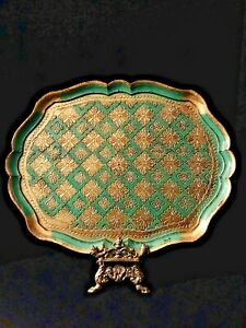 Vintage Italian Florentine Emerald Green And Gilt Toleware Tray Large 16 5 X 13