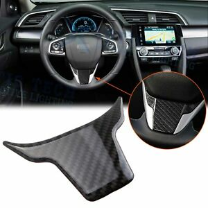Carbon Fiber Steering Wheel Lip Cover Panel Frame Trim For Honda Civic 2016 2020