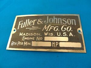Fuller Johnson Gas Engine Hit Miss Antique Reproduction Data Plate Unstamped