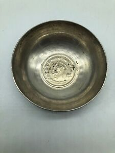 Vintage International Rial Sterling Silver Inset Coin Candy Dish 2 2oz