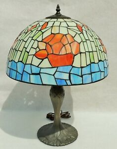 Antique Vtg Signed Tiffany Style Leaded Stained Glass Bamboo Flower Table Lamp