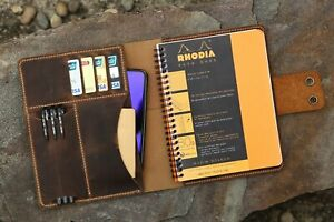 Personalized Leather Cover Portfolio For Rhodia Pad Notebook No 16 A5 Size