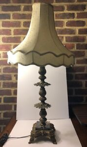 Antique Bronze Brass With Marble Base Table Lamp With Shade Working Condition